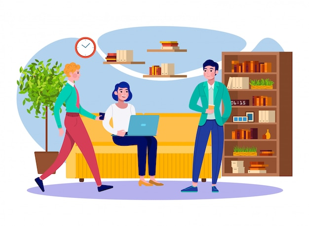 Office coffee break business people team relax at work   illustration. young men and woman professionals colleages together at company office having coffee break and meeting.