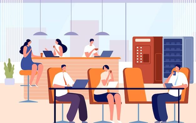 オフィスのコーヒーブレイク。会社での食事、ビジネスランチ、会議用キッチン。人々の会話、熱いお茶を飲む、ベクターイラストを動作させます。会社のコーヒーブレイク、従業員の会議と食事