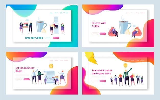 Набор посадочных страниц концепции концепции кофе-брейк. подписание нового контракта с деловым партнером. рабочий персонаж расслабляется на веб-сайте или веб-странице обеда. мечта совместной работы плоский мультфильм векторные иллюстрации