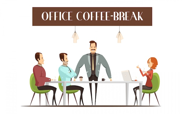 Office coffee break design with cheerful woman