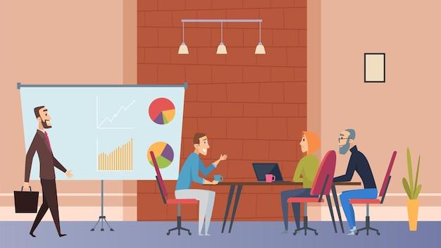 사무실 커피 타임. 관리자는 노트북, 비즈니스 센터 또는 공동 작업 카페 벡터 삽화가 있는 테이블에서 음료를 마시고 있습니다. 사무실 테이블 및 직장, 관리자 및 팀