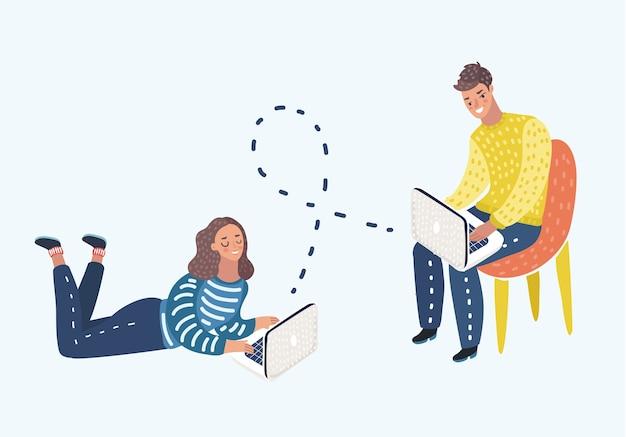 Коллеги по офису и друзья обсуждают. изображение мужчины и девушки, сидящих за столом и болтающих в интернете с помощью ноутбуков. eps векторные иллюстрации, горизонтальное изображение, графика.