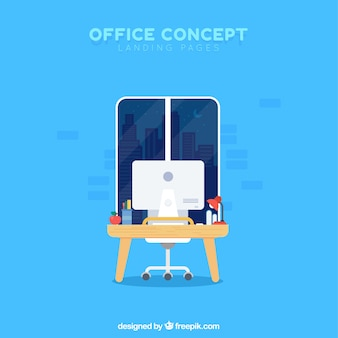 Office concept for a landing page