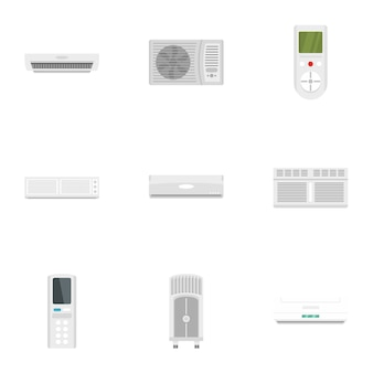 Office conditioner icon set, flat style