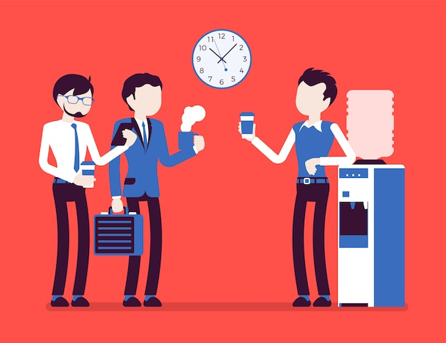 Office cooler chat. young male workers having informal conversation around a watercooler at workplace, colleagues refreshing during a break.  illustration with faceless characters
