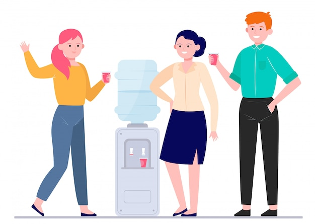 Office cooler meeting flat vector illustration