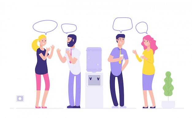 オフィスクーラー会議。クーラーディスペンサーでカジュアルなビジネスコンセプトでスピーチの泡を話して水を飲む男性女性