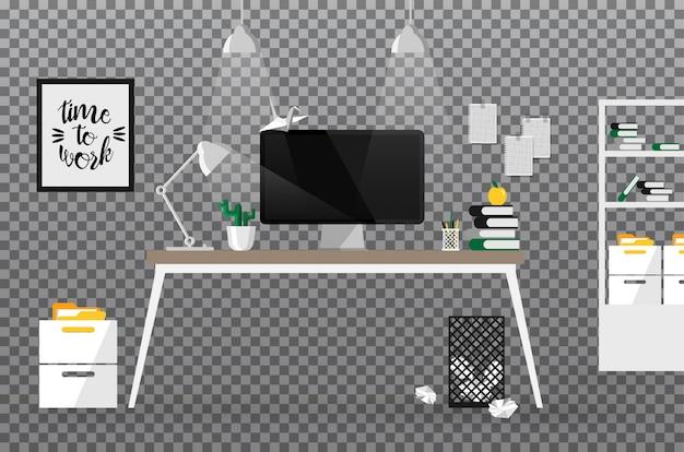 Офисное креативное пространство. рабочая область или шаблон. современный бизнес на рабочем месте вид спереди, изолированные на прозрачной. часть интерьера с пустой черный дисплей компьютера.