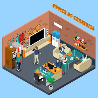 Office of creatives isometric illustration