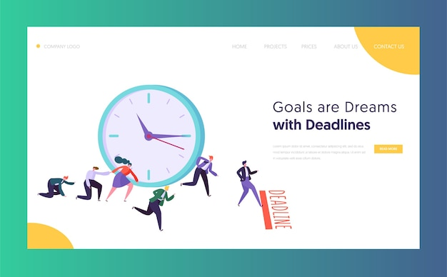 Office deadline business concept landing page. time management on the road to success. group of running businessmen to achieve results website or web page. flat cartoon vector illustration