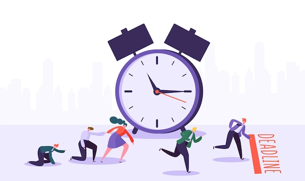Office deadline concept with business characters. time management on the road to success.
