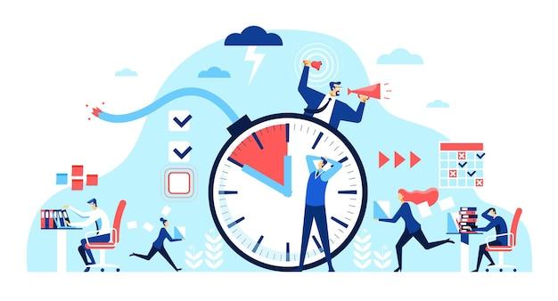 オフィスの締め切りは、残業の概念で働く従業員を強調しました