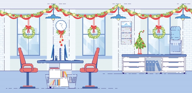 Office decorated christmas garlands