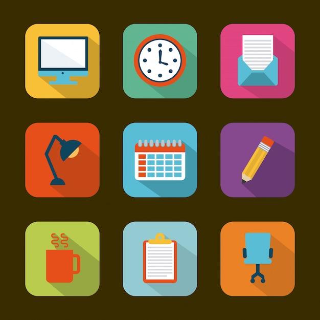 Office design over brown background vector illustration