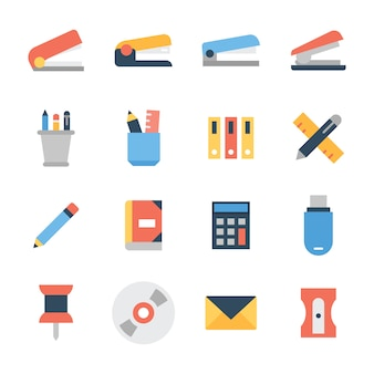 Office desk accessories icons pack