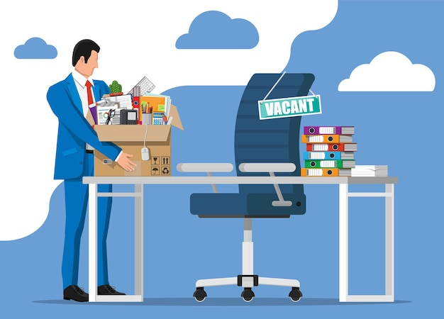 Office desk chair, sign vacancy. employee with box with office goods. hiring and recruiting. human resources management, searching professional staff work. found right resume. flat vector illustration