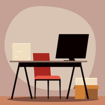Office desk computer chair and paper stack  illustration