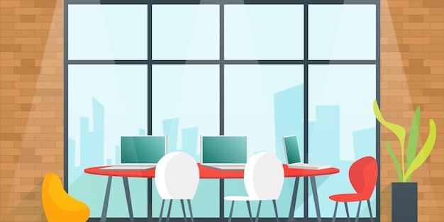 チームの計画と会議室での作業のためのオフィスデスク。コワーキングスペースのコンセプト。漫画イラスト。