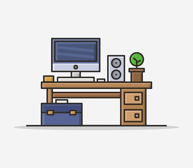 Office desk illustrated in cartoon