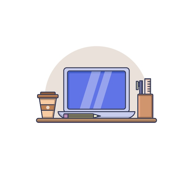 オフィスデスクのイラスト