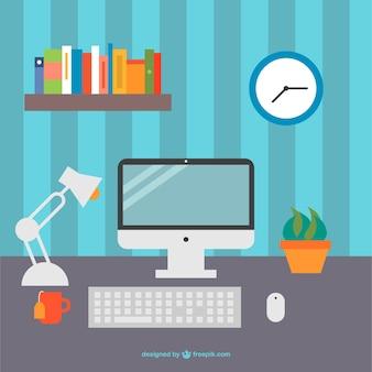 컴퓨터, 키보드 및 선인장 냄비와 사무실 책상