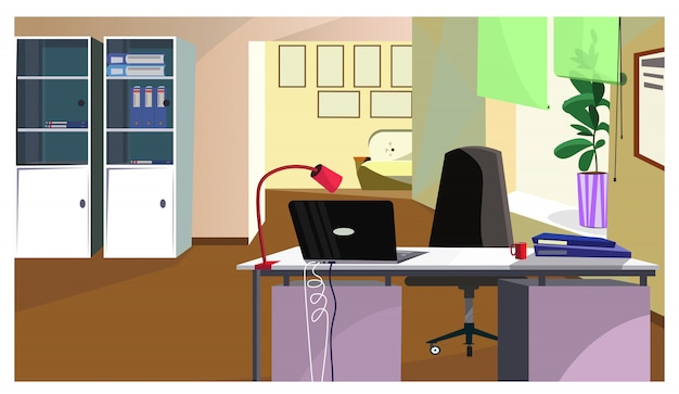 Office desk with laptop and folders illustration