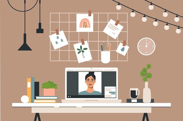 ノートパソコン付きのオフィスデスク。トレンディな部屋のインテリアの職場。
