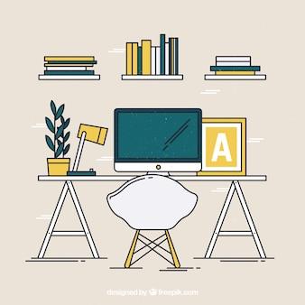 Офисный стол с оригинальным стилем