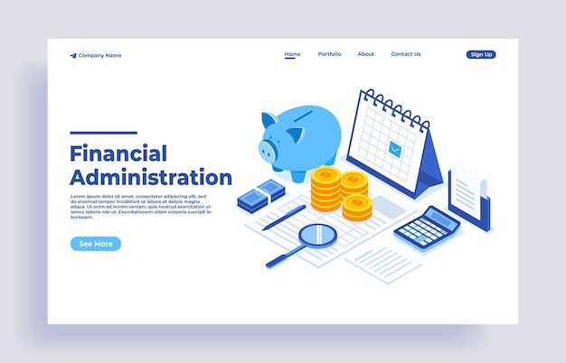 Office desk with piggy bank money and business documents