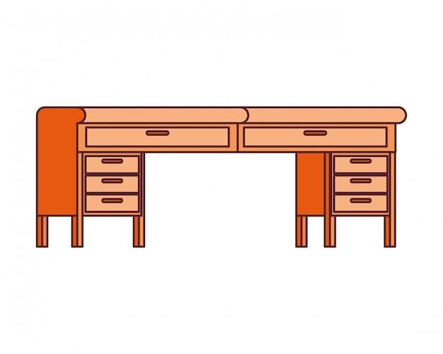 Office desk in wooden