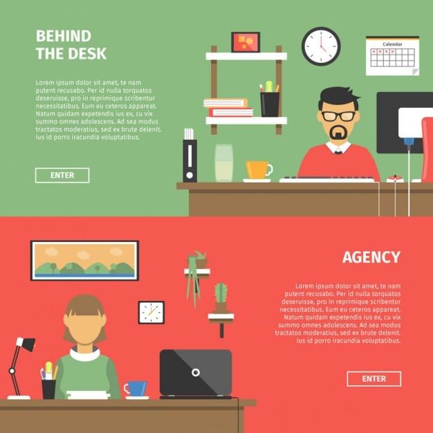 Office desktop banners in flat design