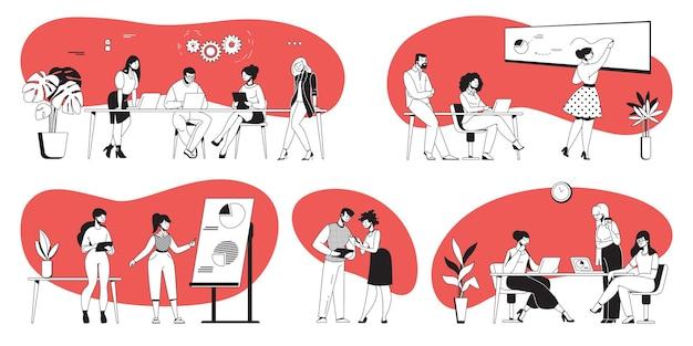 Офисные обсуждения. деловая презентация и переговоры по проекту с мультипликационными офисными работниками. векторный набор обсуждения крайнего срока и совместной работы, концепция активного лидерства технологий управления