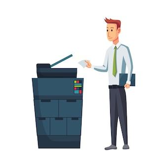 Копировальный аппарат офисных документов. офисный работник печатает документы на копировальном аппарате. мужчина работает на копировальном аппарате. концепция офисной работы.