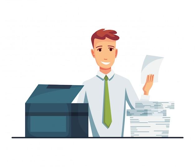 Копировальный аппарат офисных документов. офисный работник печатает документы на копировальном аппарате. человек работает на копировальном аппарате
