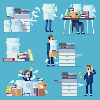 Office documents copier. printer printing office papers, man with broken photocopier.