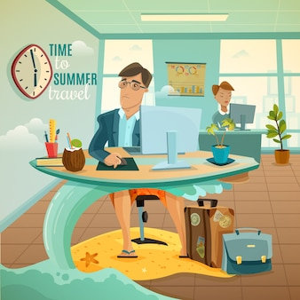 Office dreams vacation illustration