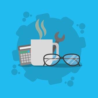 Office elements concept cartoons vector illustration graphic design