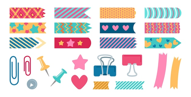 사무실 요소 계획 세트 편지지. 종이 스티커와 금속 핀, 책갈피. 노트북, 일기 또는 추억의 보존, 스크랩북을위한 디자인 요소 컬렉션.
