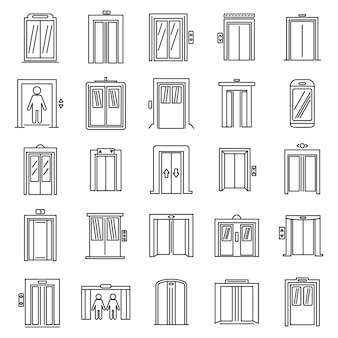 Office elevator icons set