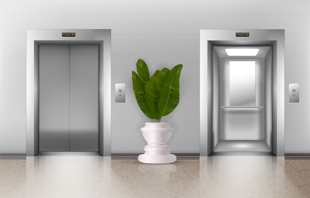 Office elevators. realistic indoor metal office lifts in lobby with open and closed doors, buttons, potted plant.  floor interior architecture
