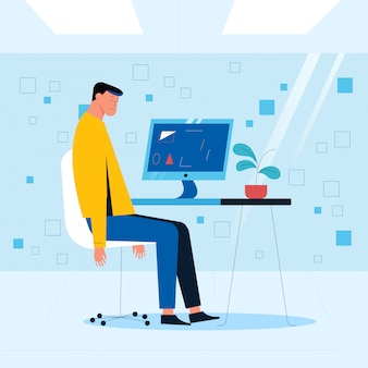 An office employee sits on a chair in front of a computer with his hands down. office situation concept. vector illustration