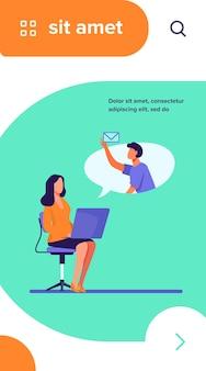 メッセージを送受信するラップトップを持つオフィスの従業員。同僚、コンピューター、電子メールフラットベクトルイラスト