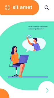 Office employee with laptop sending or receiving message. colleagues, computer, email flat vector illustration