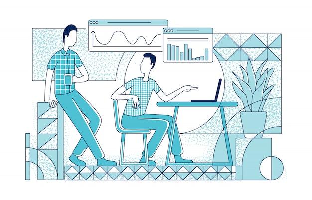 仕事のシルエットイラストのオフィスの従業員。アナリストとプロジェクトマネージャーは、白い背景の上の文字を概説します。ビジネス人々、若い男性の同僚のシンプルなスタイルの描画