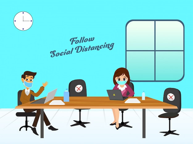 Office employees follow social distance working on workplace to prevent from coronavirus, covid-19.
