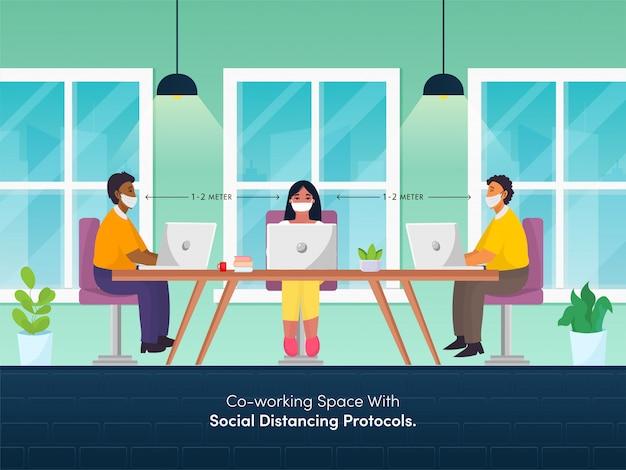 コロナウイルスを防ぐために職場で一緒に仕事中に社会的距離を維持するオフィスの従業員。