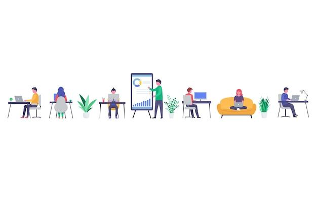 Офисные сотрудники работают дома, в коворкинге, в рабочем процессе. молодые мужчины и женщины, работающие на ноутбуках и компьютерах, онлайн-общение и презентации.