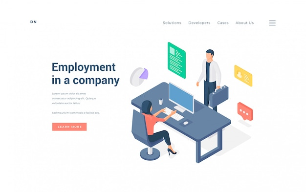 Office employees working in company   illustration.
