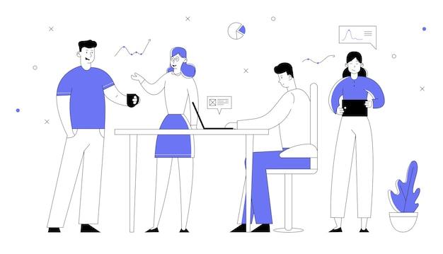 사무실 직원 작업 프로세스. 기업인 및 경제인 관리자 팀은 창의적인 프로젝트를 개발하고 있습니다.