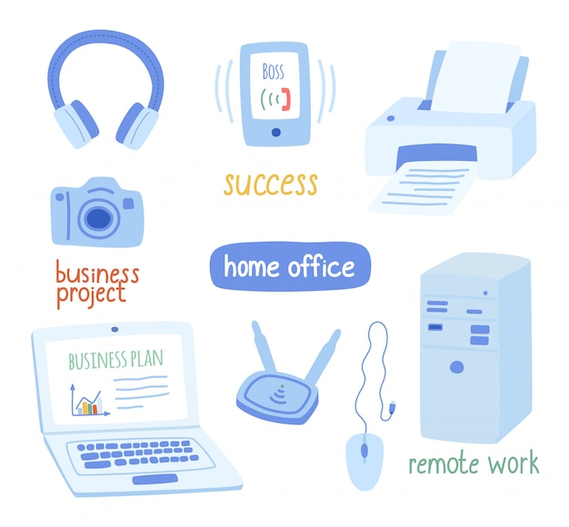 Office equipment, the concept of remote work, office.